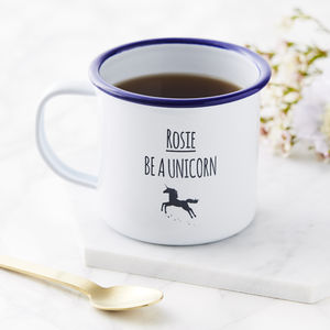 Personalised Unicorn Enamel Mug - unicorns