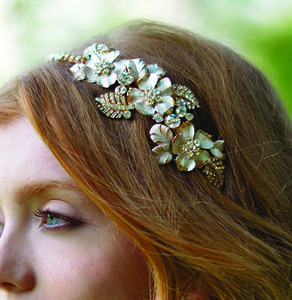 Enamelled 14k Gold Petal Side Tiara - bridal hairpieces