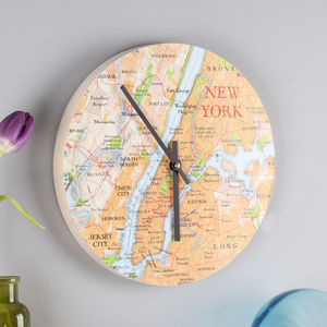 Personal Map Location Round Wall Clock For Him