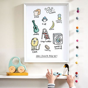 'Personalised Favourite Things' Print - personalised