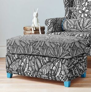 Screen Printed Tropical Leaf Pattern Footstool