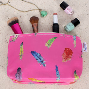 Pink Feathers Make Up Bag - make-up & wash bags
