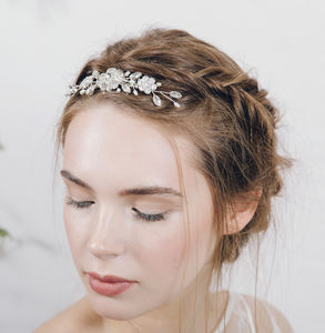 Swarovski Crystal And Pearl Wedding Veil Comb Lucille - bridal hairpieces