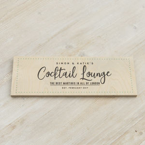 Personalised Wooden Cocktail Lounge Sign