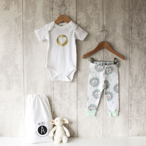 Mint Lion Baby Bodysuit And Leggings Set - gifts for babies