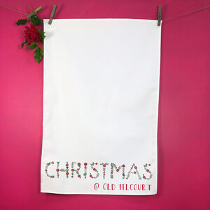 Personalised Holly Berry Tea Towel