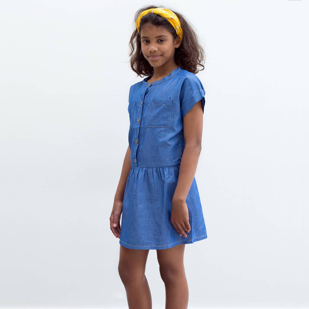 light denim tencel shirt dress by well grounded company ...