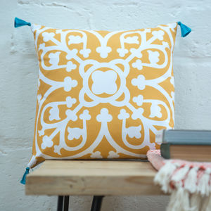 Moroccan Tile Cushion In Mustard