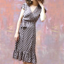 Wrap Dress In Chocolate Fan Print Crepe