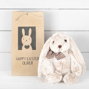 Plush Bunny Toy With Personalised Gift Bag, Easter