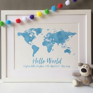 Personalised Baby Hello World Print
