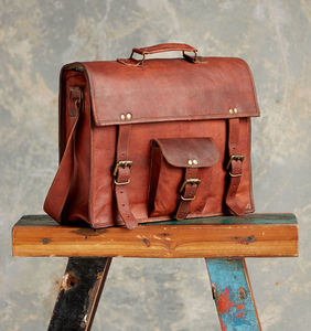 Large Brown Vintage Leather Satchel / Laptop Bag - bags & purses