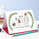 Pack Of Five Personalised Christmas Polar Bear Card