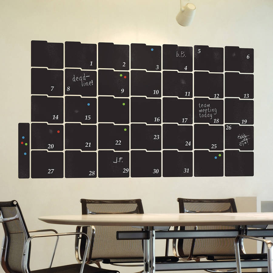 chalkboard calendar planner wall sticker by the binary box