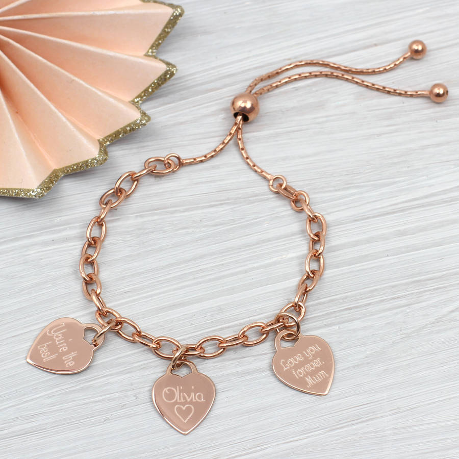 da584fb5d22 personalised rose gold slider bracelet by hurleyburley ...