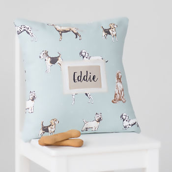 Personalised Dog Print Name Cushion