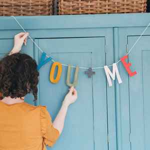 'You + Me' Felt Letter Garland - decorative accessories
