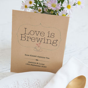 10 'Love Is Brewing' Personalised Tea Packet Favours - new in wedding styling