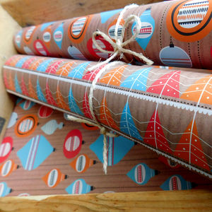 12 Sheets And Tags Retro Festive Xmas Gift Wrap Set - wrapping