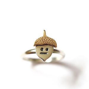 Acorn Ring In Silver And Gold With Black Diamonds