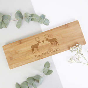 Christmas Wooden Serving Board Personalised Stags