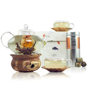 Craftsman Glass And Wood Flowering Tea Gift Set - teapots