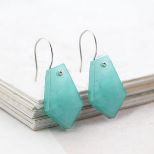 Aqua Chalcedony Geometric Silver Drop Earrings