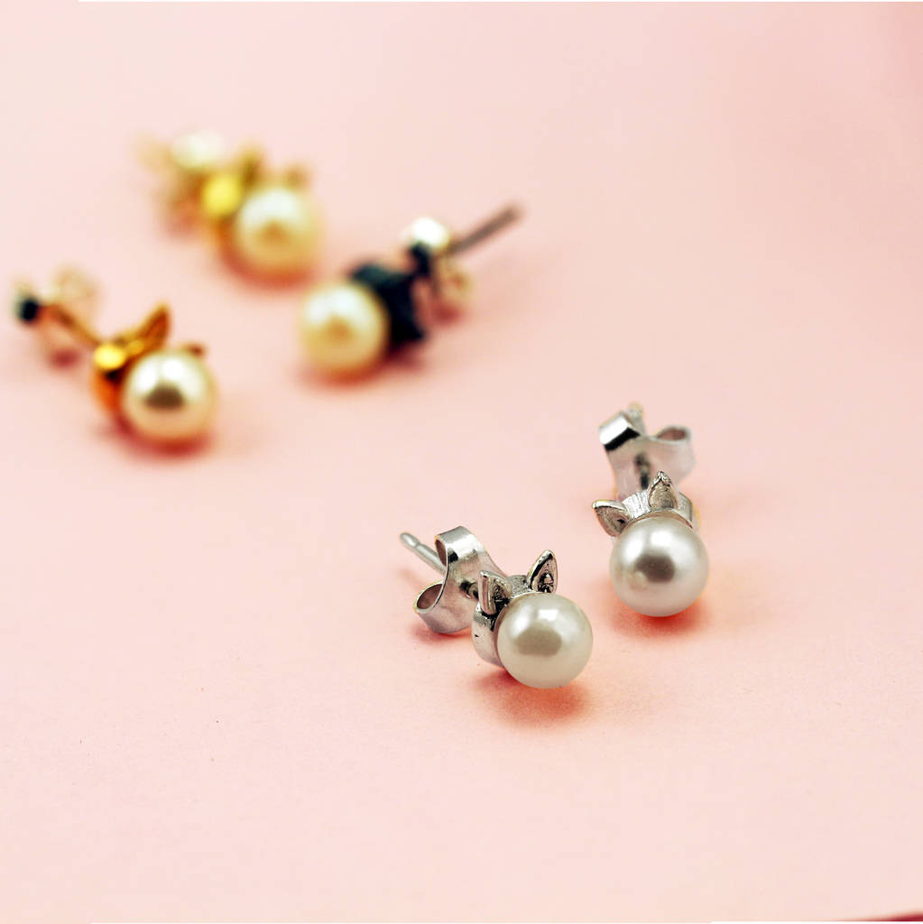 sterling silver \'kitty meow\' cat earrings with pearls by lushchic ...