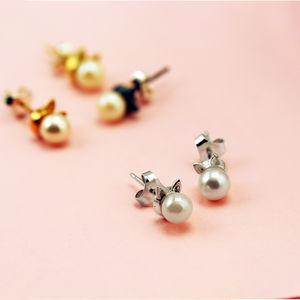 Sterling Silver 'Kitty Meow' Cat Earrings With Pearls - new lines added