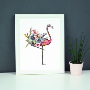 Floral Flamingo Illustration Print - animals & wildlife