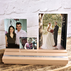 Personalised Wooden Photo Block Frame Set - picture frames
