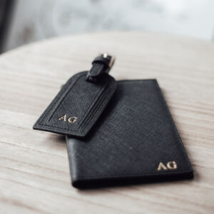 Personalised Leather Passport And Luggage Tag Set