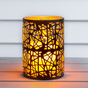 Black Abstract Battery Candle Lantern