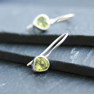 Peridot And Silver Drop Earrings - earrings