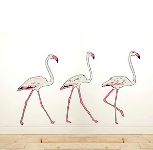 Wall Sticker Three Flamingos - hallway