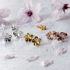 Jasmine Flower Sterling Silver Studs Customisable Card