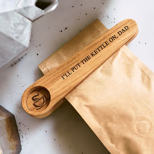 Solid Oak Personalised Coffee Scoop - gift guide edit