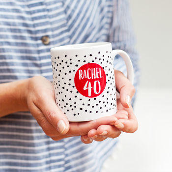 40th Birthday Spotty Personalised Mug