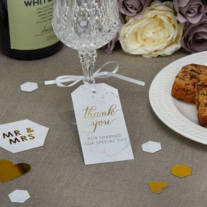 Marble And Gold Thank You Tag - wedding favours