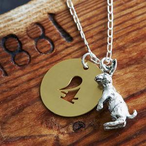 Happy Rabbit Charm With Brass Lucky Number Necklace