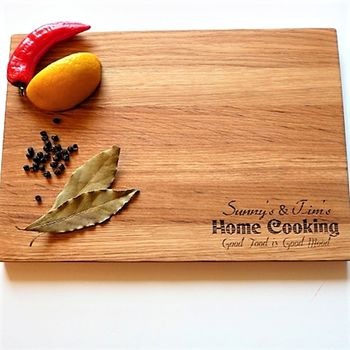 'Home Cooking' Oak Chopping Personalised Board