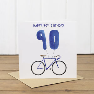 90th Bicycle Balloon Birthday Card