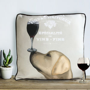 Yellow Labrador Cushion, Dog Au Vin Wine Gift