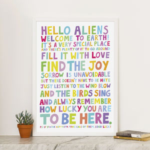 'Hello Aliens Welcome To Earth' Inspirational Print - typography