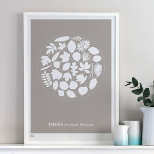 'Trees Around Britain' Leaves Screen Print - valentine's gifts for him