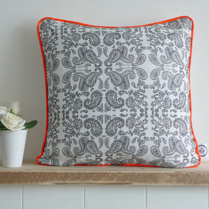 Hand Drawn Paisley Piped Cushion - cushions