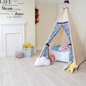 Geo Navy And Blue Teepee Tent