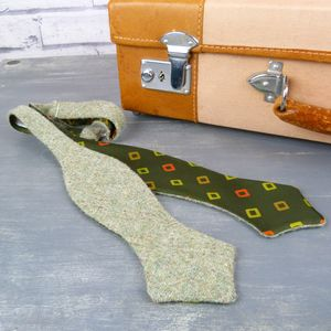 Harris Tweed And Silk Self Tie Diamond Tip Bow Tie - ties & tie clips
