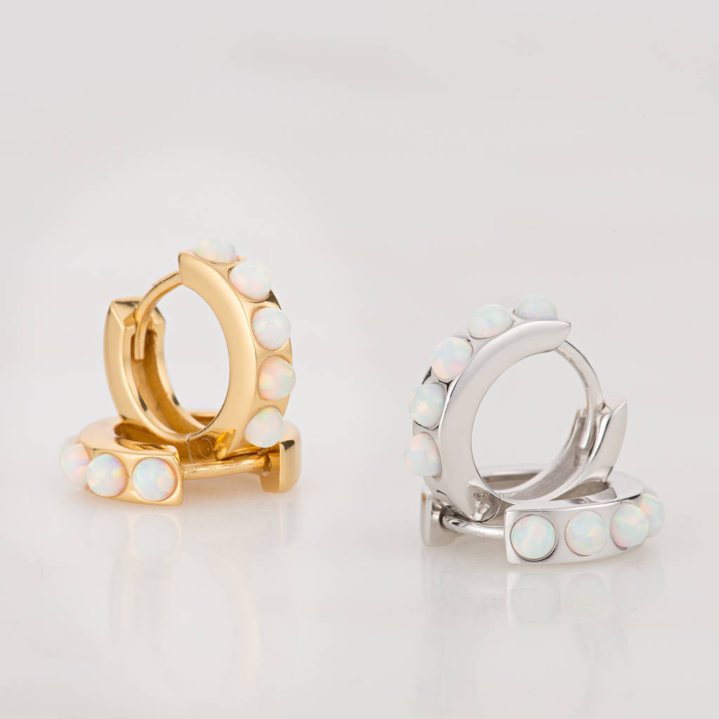 Opal Huggie Hoop Earrings by Scream Pretty