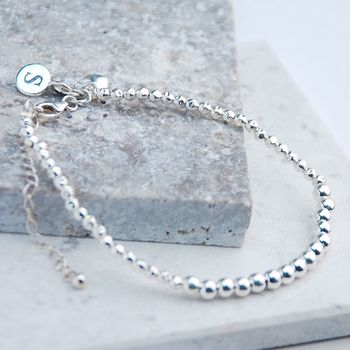 Personalised Sterling Silver Friendship Bracelet - charms at back